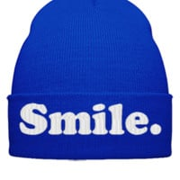 smile EMBROIDERY HAT - Beanie Cuffed Knit Cap