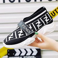 FENDI Hot Sale Women Breathable Knit Running Sport Shoes Sneakers White&Black