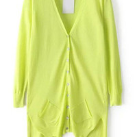 Green V-Neckline Asymmetrical Knit Cardigan