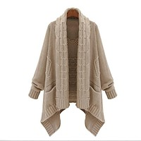 Cardigan Loose Upset Asymmetric Pure Color Sweater