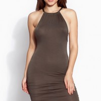 Olive Ruched Halter Body Con Dress @ Cicihot sexy dresses,sexy dress,prom dress,summer dress,spring dress,prom gowns,teens dresses,sexy party wear,ball dresses