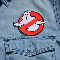 GHOSTBUSTERS Badge Iron on Patch Patches Pin Sew On Embroidered Stitches Ghost Movie 80's Bill Murray Red Circle Supernatural Anniversary