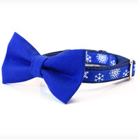 "Holiday Bow Tie Cat Collar Set - ""My Favorite Things"" - Blue Detachable Bow Tie + Winter Blue Snowflake Collar"