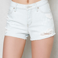 PacSun Marina White Ripped High Rise Cutoff Denim Shorts at PacSun.com