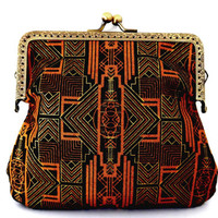 Art deco purse / small clasp bag / 1920s style / gold / metallic / black / cotton / lined / small bag / floral / bronze / small clutch purse