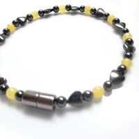 Magnetic Hematite Bracelet With Hearts And Yellow Jade