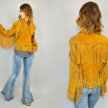 vtg 70s SUEDE western bohemian hippie FRINGE JACKET coat, extra small-medium
