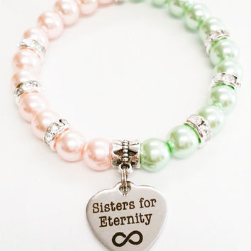 Infintity Bracelet | Bff Jewelry | Sisters Jewelry | Sisters for Eternity | Big Little Sister Gift | Best Friend Jewelry | Pink and Green