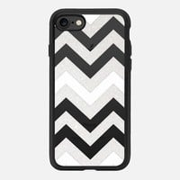 TRANSPARENT SILVER CHEVRON & WHITE CRYSTAL CLEAR iPhone 7 Hülle by Monika Strigel | Casetify