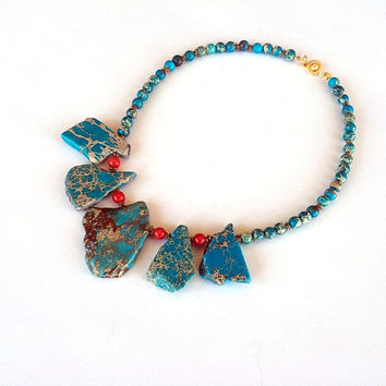 Slab Turquoise Necklace, Coral Necklace, Chunky Necklace, Chunky Turquoise, Blue Necklace, Boho, Gemstone Necklace, Birthday Gift