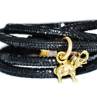 Good Luck Elephant Leather Wrap Bracelet with Charm