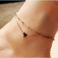 Stylish Gift Sexy Shiny Ladies Jewelry Cute New Arrival Heart Titanium High Quality Star Korean Anklet [8169867143]