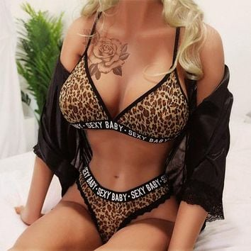 Stunning and Sexy Baby Leopard Print Lingerie Bra and G-String Panties Outfit