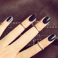 3 Gold Knuckle Rings, Midi Rings, Midi Ring, Above Knuckle ring, chevron midi ring, twist ring