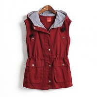 Hooded Red slim fit hooded vest  Other type  Solid Pop  style zz101608 in