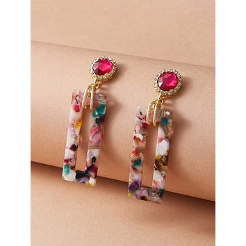 1pair Gemstone Decor Colorful Geometric Drop Earrings
