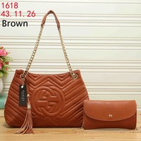 GUCCI 2018 tide brand wave pattern chain bag double G portable shopping bag handbag two-piece brown