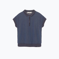 GEORGETTE BACK INDIGO POLO SHIRT Look+: 1 of 3