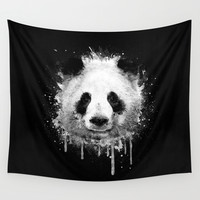 Cool Abstract Graffiti Watercolor Panda Portrait in Black & White Wall Tapestry by Badbugs_art