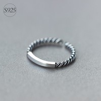 S925 Sterling Silver Thai Silver Twist Open Smooth Ring J1205  171204
