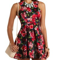 Racer Front Floral Print Skater Dress by Charlotte Russe - Red Combo