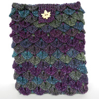 Purple and Blue Crochet Crocodile Stitch Cozy for iPad, also fits 9 inch Kindle, or 9 inch Nook