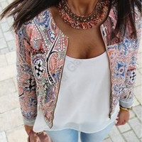 European and American style retro print round neck sport jacket