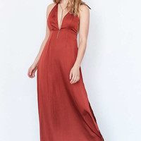 Capulet Plunging Satin Maxi Dress - Urban Outfitters