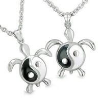 Amulets Yin Yang Turtles Balance Energy Love Couple or Best Friends Set Lucky Ch