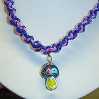 Just a Simple Fimo Glass Mushroom on Blue and Pink Spiral Hemp Necklace handmade macrame jewelry girls hippie