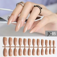 New light blown Almond long oval personality Designs Round False nails 24pcs Full Nail Pure decorating candy Fake nails JC05