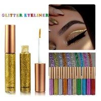 1PC Professional Eye Glitters Brand Makeup Waterproof Easy to Wear Pigment Sexy Silver Gold Green Glitter Eyeliner Cosmetics