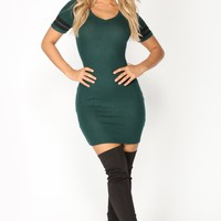 Lyndsey Sweater Dress - Hunter Green