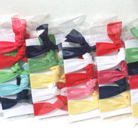 5 Kids, Children's Party Favors - Ribbon Hair Tie Gifts by Preppy Pieces Hair Ties - Girls Birthday Party Favors - 5 Hair Tie Packages