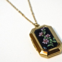 """Vintage Locket,SIGNED 1928 Necklace,Victorian Revival Necklace,25"""" Chain,Gold Plate Locket with Black Floral Inlay,1928 Jewelry,Black Locket"""