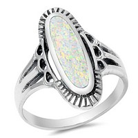 Vintage Look Big Skinny White Opal Oval Cut Sterling Silver Ring