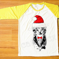 Merry Christmas TShirt Wink Cat Shirt Cat Suit&Tie Shirt Animal Shirt Yellow Sleeve Women T-Shirt Men T-Shirt Unisex Tee Baseball Tee S,M,L