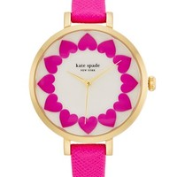 Women's kate spade new york 'metro' heart dial leather strap watch, 34mm