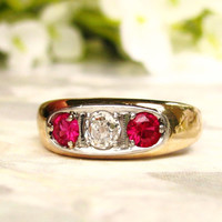 Antique Three Stone Trilogy Ring 0.20ct Old Mine Cut Diamond & Ruby Wedding Ring 14K Gold Art Deco Engagement Ring Size 5.5!