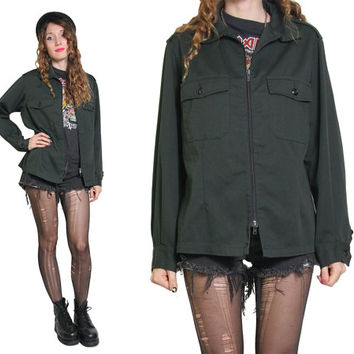 Vintage Military Jacket - 80s Canadian Armed Forces Military Jacket - Oversized - Dark green - Army Jacket - Grunge - Green Army Jacket