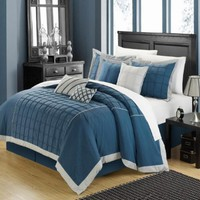 Rhodes Teal King 12 Piece Comforter Bed In A Bag Set With Sheet Set