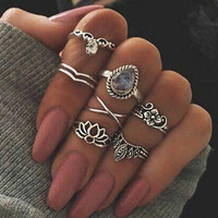 Stylish Shiny Gift New Arrival Jewelry Hot Sale Vintage Hollow Out Floral Gemstone Geometric Ring [11343019791]