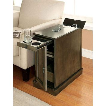 Lilith I Transitional Style Side Table, Gray By Casagear Home