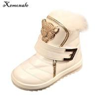 Xemonale New Children Boots Fashion Fur Baby Girls Snow Boots Waterproof leather Booties Female Child Winter Warm Shoes For Kids