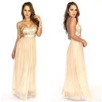 Just Like Me Maxi Dress In Gold