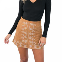 Suede embroidery high waist skirts
