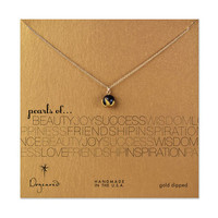 pearls of... thorn bead cup black pearl necklace, gold dipped, 18 inch