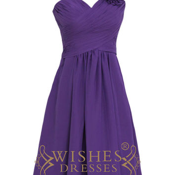 Purple One-shoulder with Flowers Short Chiffon Bridesmaid Dresses Am145
