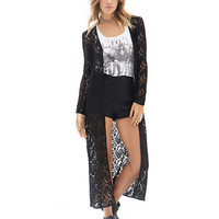 Long Sleeve Lace Cut Out Long Cardigan