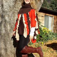 Womens Poncho made with Sweaters Warm for Fall and Winter  Bohemian Boho Upcycled Clothing Orange Brown Cream  Recycled Patchwork Ladies